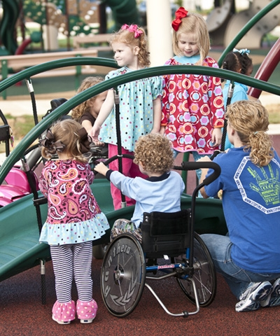 Children of all abilities should play together on the playground.
