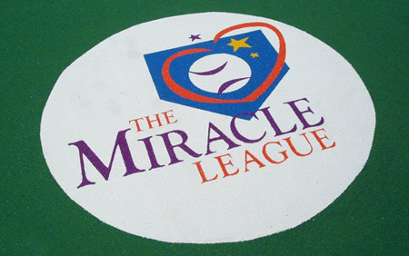 Miracle League logo in the PebbleFlex® baseball field.