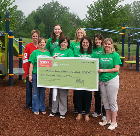 Thornton Creek's playground committee worked tirelessly to raise additional funds.