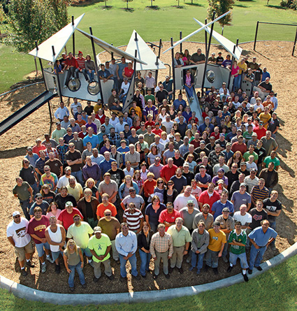 Landscape Structures employees at Barb King Inspiration Park in Delano