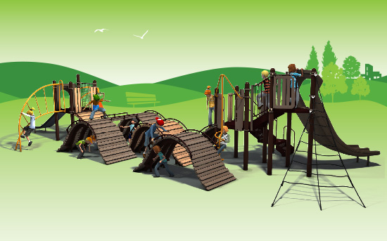 The Hillscape Adventures offers a rolling design and climbing challenge for kids ages 5 to 12.