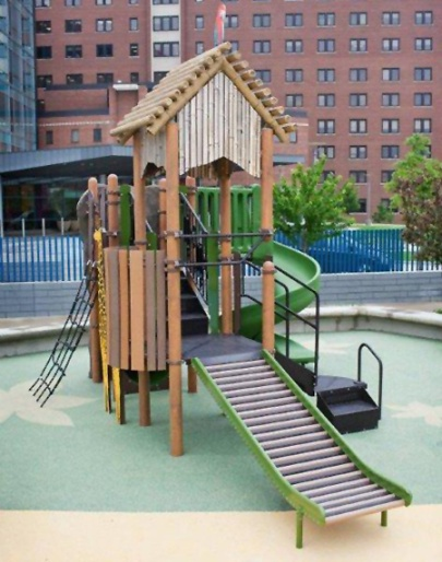 Children with IVs can use the Rollerslide without worrying about getting tangled in the posts.