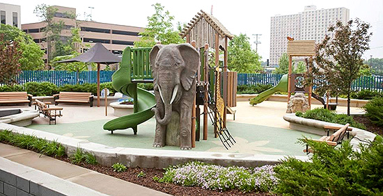 Sullivan Playgroud at University of Minnesota Amplatz Children's Hospital features an inclusive design.
