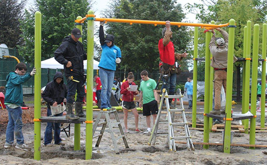 After two days of construction, two new school playgrounds were ready for students in Vancouver.