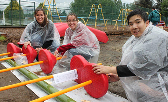 Volunteers from Circle K International built playgrounds at two Vancouver Schools