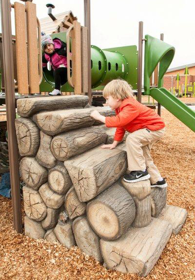 Provide age-appropriate climbing challenge with the Log Stack Climber.