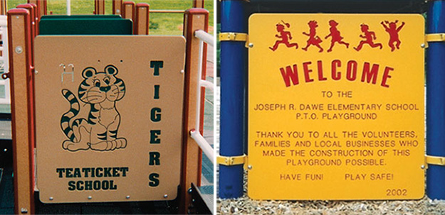 Personalize your playground activity panels or welcome signs on your school playground.