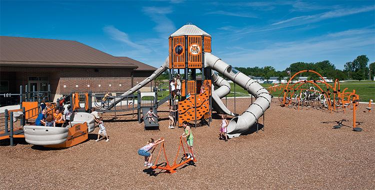 Versailles Elementary School created a school spirit theme for their school playground.
