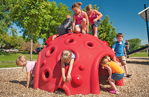 The Cozy Dome® offers kids a place to escape the hustle and bustle of a busy playground, take time by themselves or socialize together.