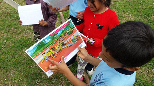 Kids in Cuenca, Ecuador, point out what they're most excited for in the inclusive playground.