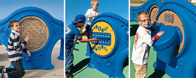 The Marble Panel™, Xylofun Panel® and Bongo Panel all provide sensory-rich experiences for kids.