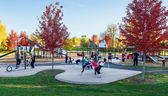 Create an active community by including the HealthBeat® outdoor fitness system into your playground design.