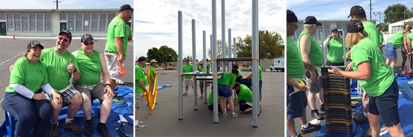 Principals beautify school playgrounds in California.