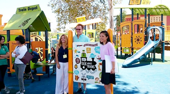 Sepulveda Recreation Center is home to the first playground with the Talking is Teaching campaign.