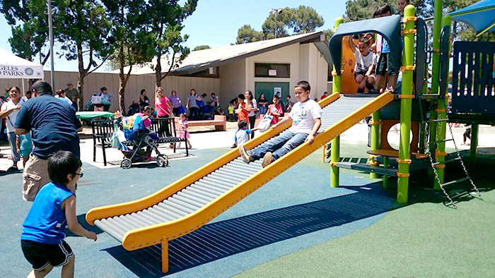 The playground design at Sepulveda Recreation Center welcomes children and families of all abilities.