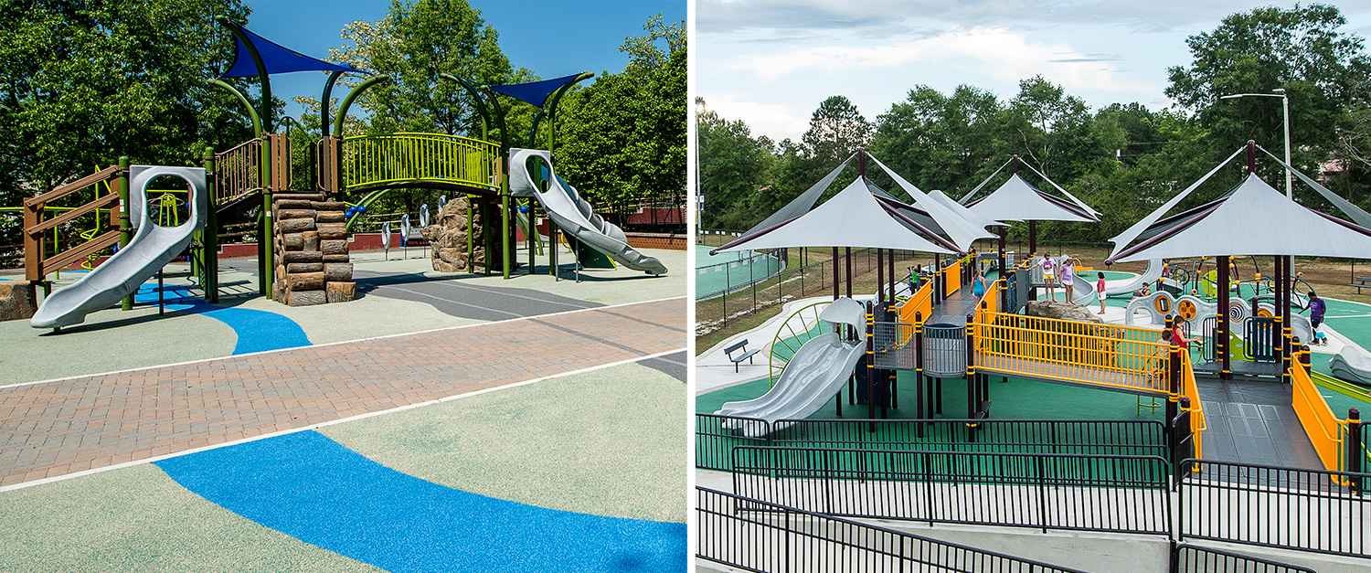 Keep kids safe on the playground with safety surfacing and playground shade.