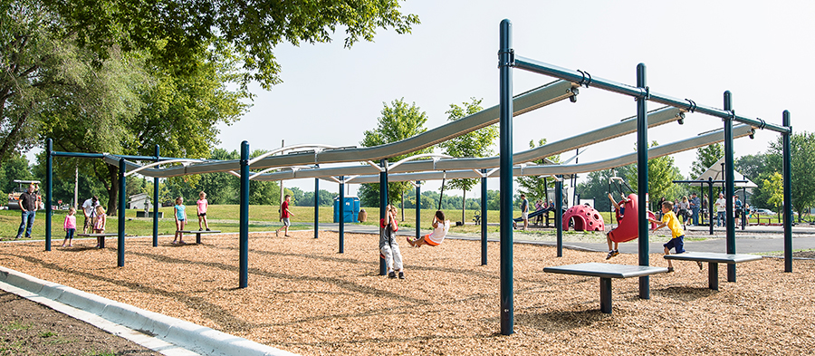 ZipKrooz™ is the first inclusive zip line for playgrounds.