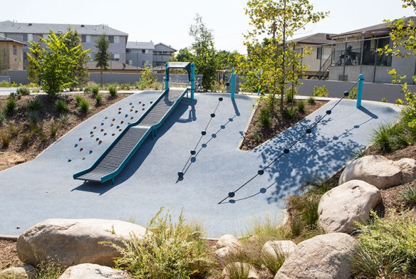 Hillside climbers and slide in Bicentennial Park