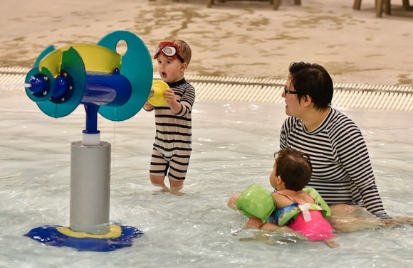Keep young children within arms length during aqua play.